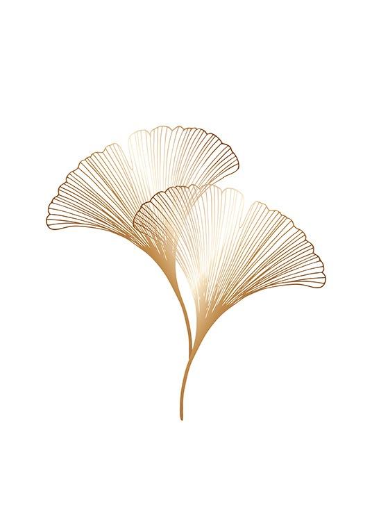 – Ilustracja graficzna z liśćmi miłorzębu w kolorze złota na białym tle