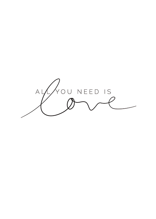 You Need Love Plakat / Plakaty z napisami w Desenio AB (11466)