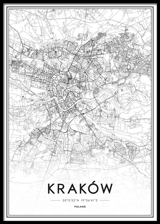 Krakow Map Plakat