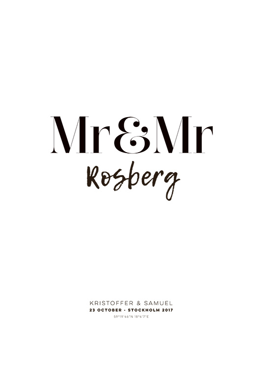 Mr and Mr Personal Plakat / Plakaty personalizowane w Desenio AB (pp0013)